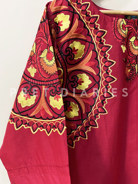 Red Embroidered Kurta - 52913