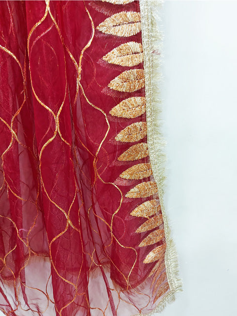 Red Gotta Net Dupatta 75626