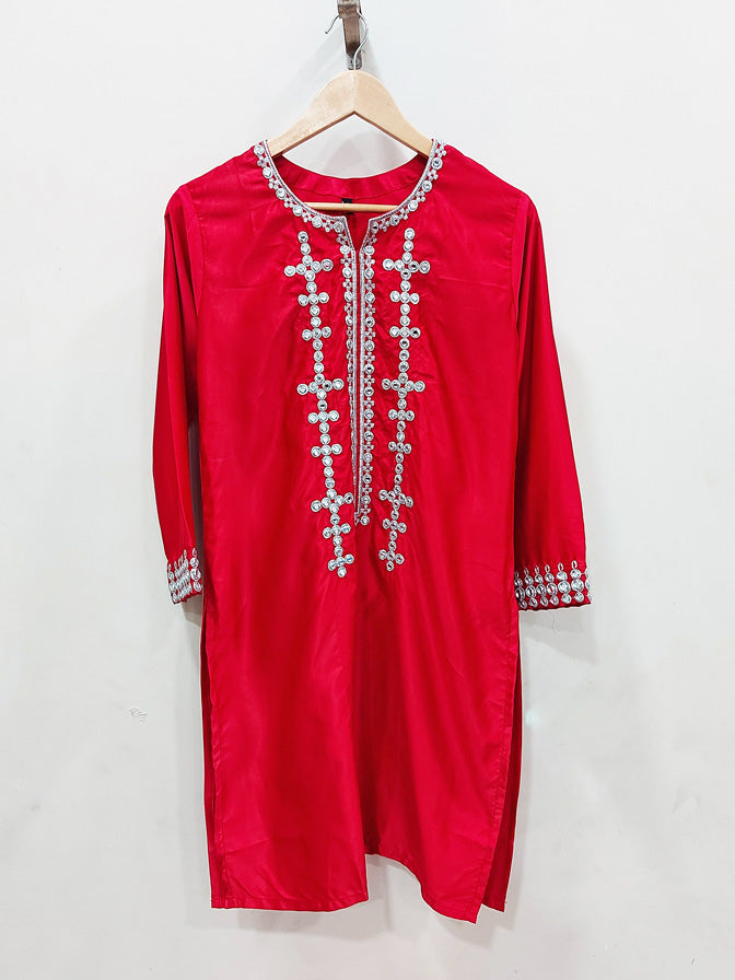 Red Silk Shesha work Kurta - 52204