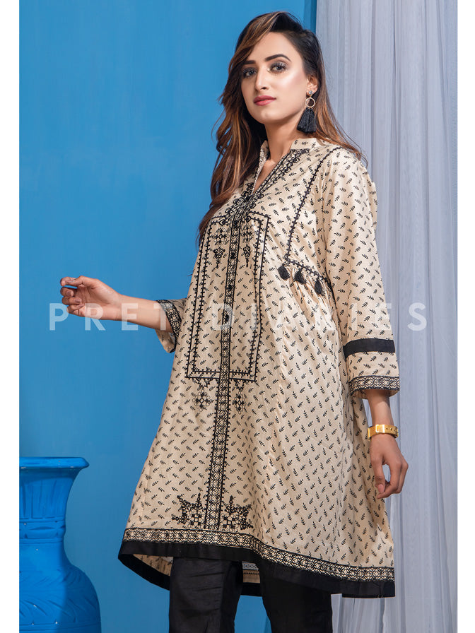 Skin Embroidered Kurta - 52827