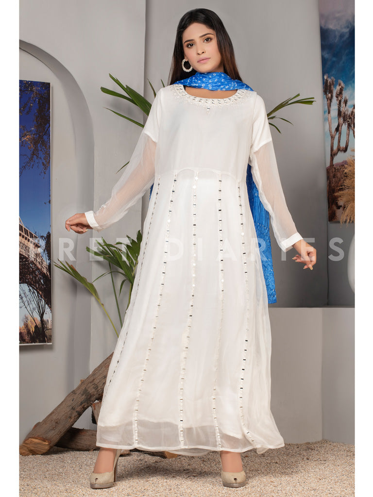 White Chiffon Long Frock and Dupatta - 53002