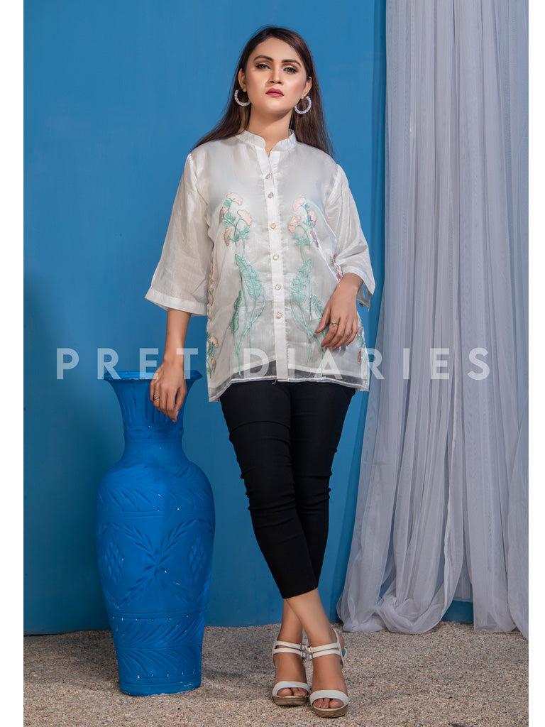 White Embroidered Top - 52860