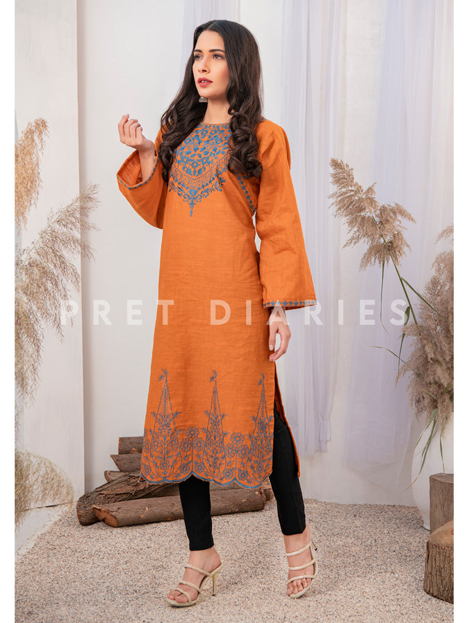 Yellow Embroidered Kurta - 52632