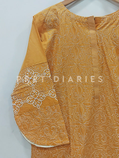 Yellow Embroidered Kurta - 52854