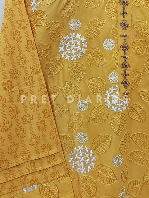 Yellow Embroidered Frock - 52855