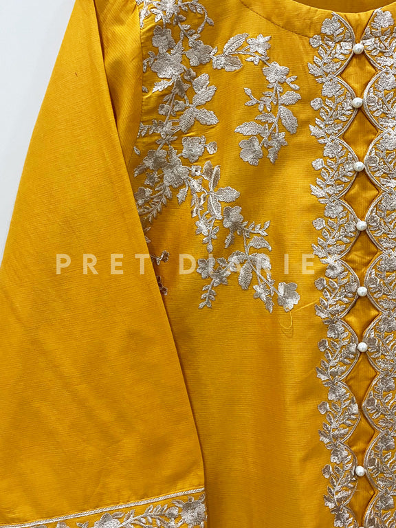 Yellow Embroidered Frock - 52857