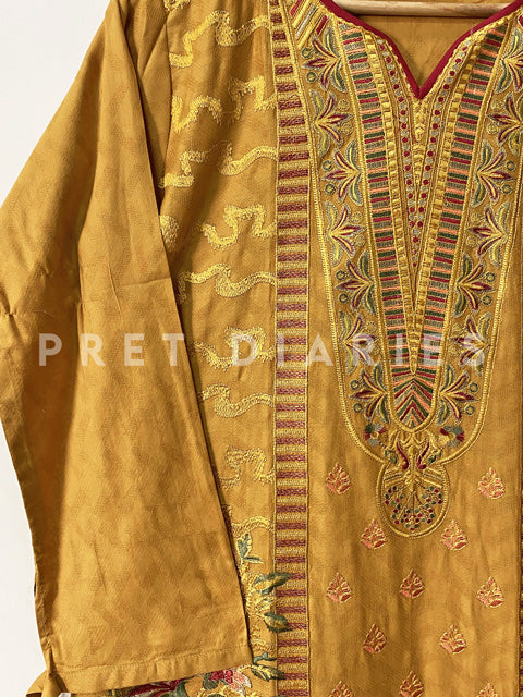 Yellow Embroidered Kurta - 52909