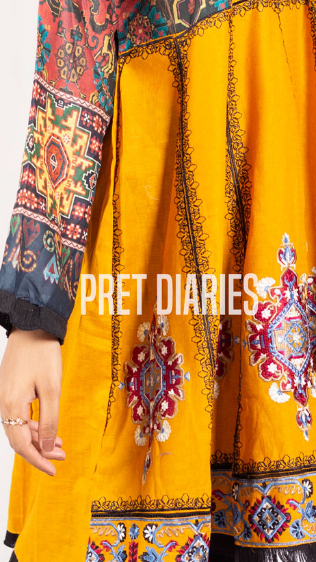 Digital Printed Embroidered Frock - Yellow JPK-538