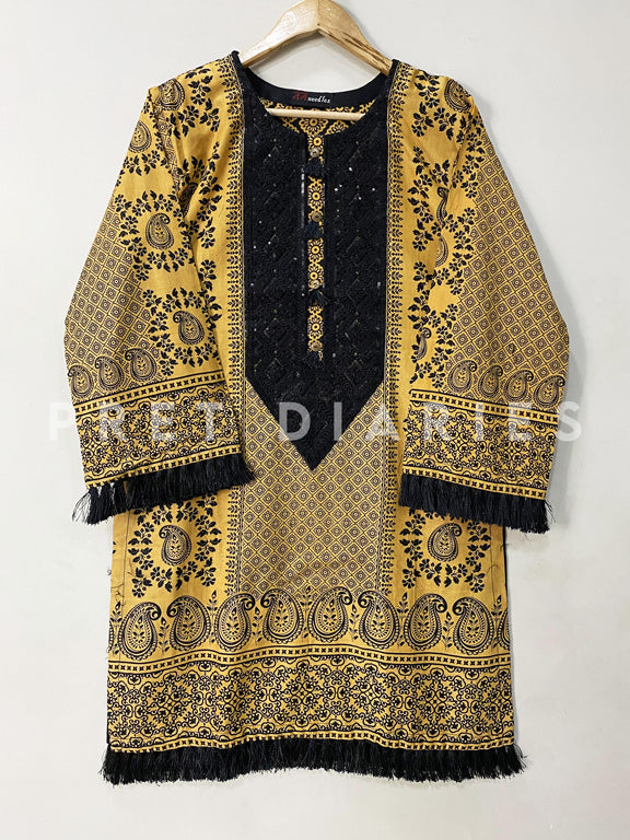 Yellow Printed Kurta - 52984