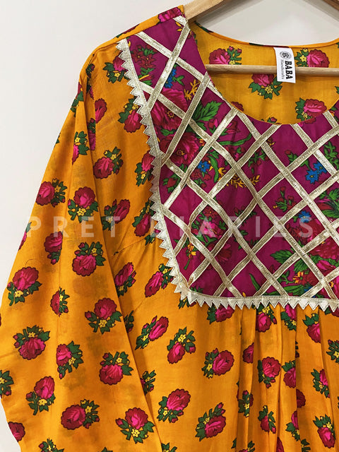 Yellow Printed Frock - 52882-8