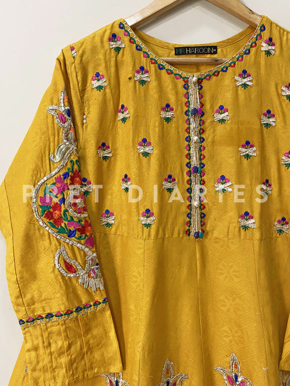 Mustard Jacquard Embroidered Frock - 53006