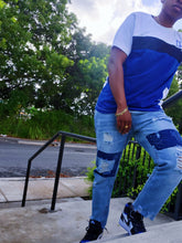 Load image into Gallery viewer, Distressed patchwork jeans with rips