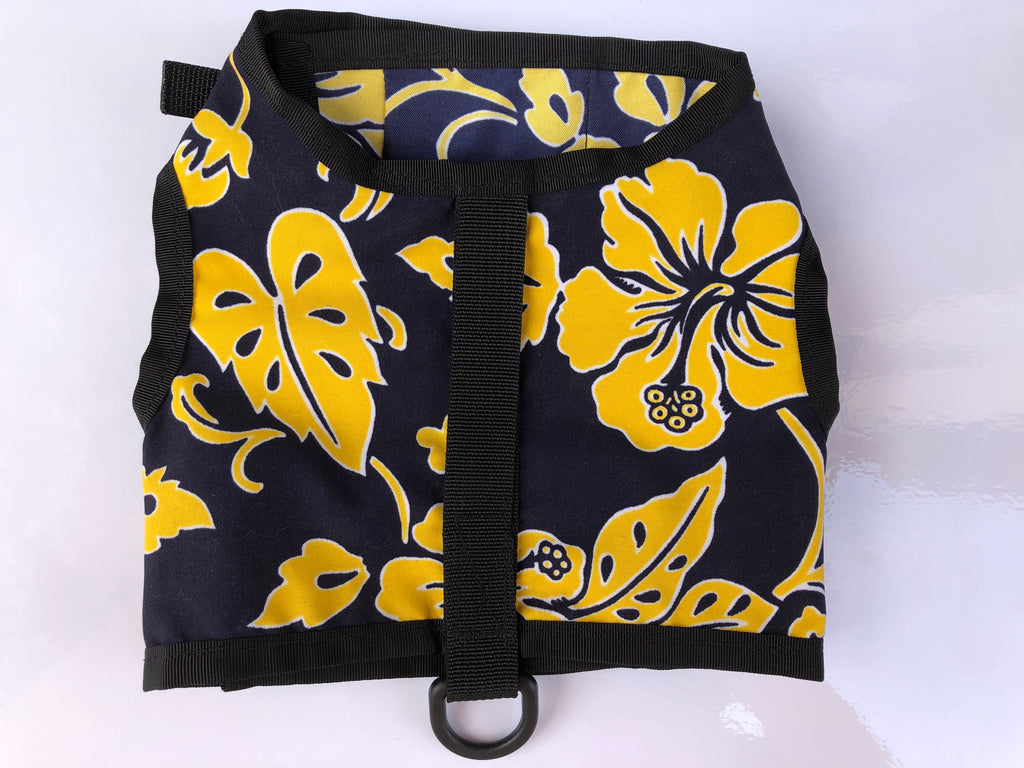 harness - dark blue and yellow hawaiian