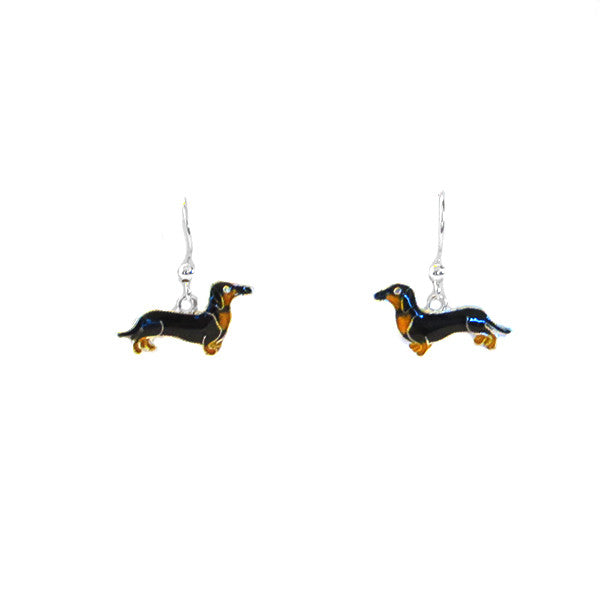 earrings - black & tan enamel