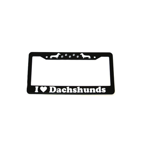 """i ❤ dachshunds"" license plate frame"
