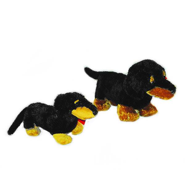 plush dachshunds black & tan - small & large .  (Set of 2)