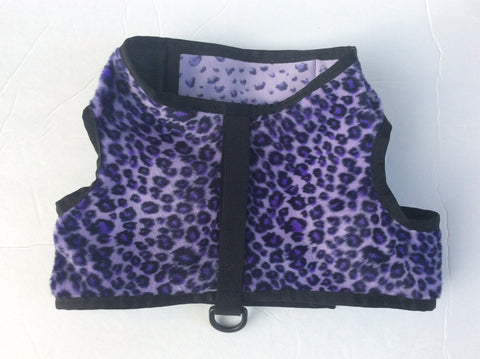 harness - purple leopard. THIS FABRIC IS OUT OF STOCK