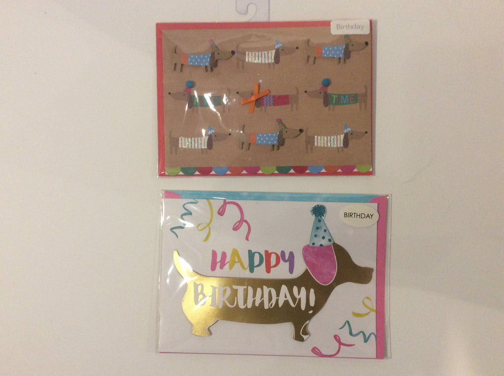 Holiday birthday cards dachshund, (set of 2)