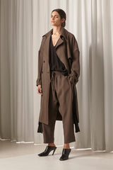 Ricochet NZ Fashion Designer Clothing AW18 Carl Trench Coat Fluid Bamboo Viscose Matte Black Hardware Made in NZ