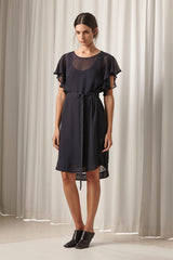 Ricochet NZ Fashion Designer Clothing AW18 Gunkan Dress Chiffon Fluted Sleeve Made in NZ
