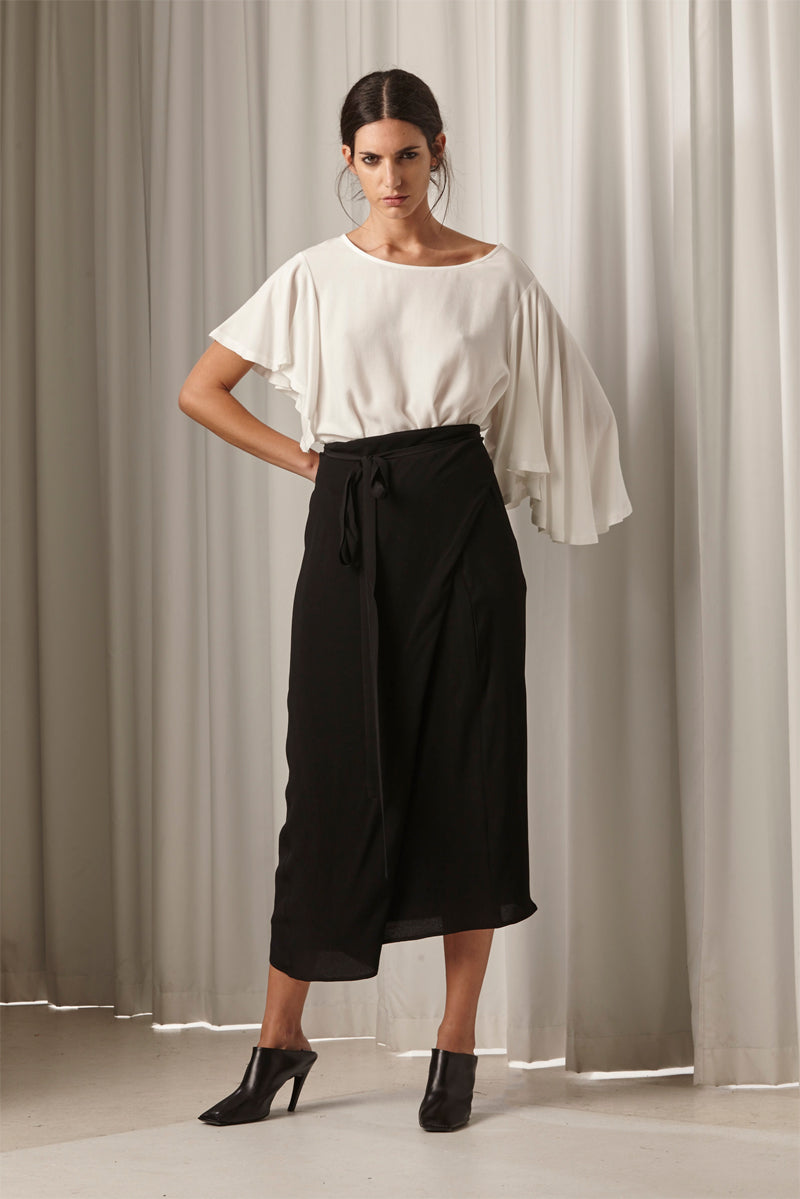 Ricochet NZ Fashion Designer Clothing AW18 Guru Top Asymmetrical Fluted Sleeve Matte Balck Shank Buttons Made in NZ