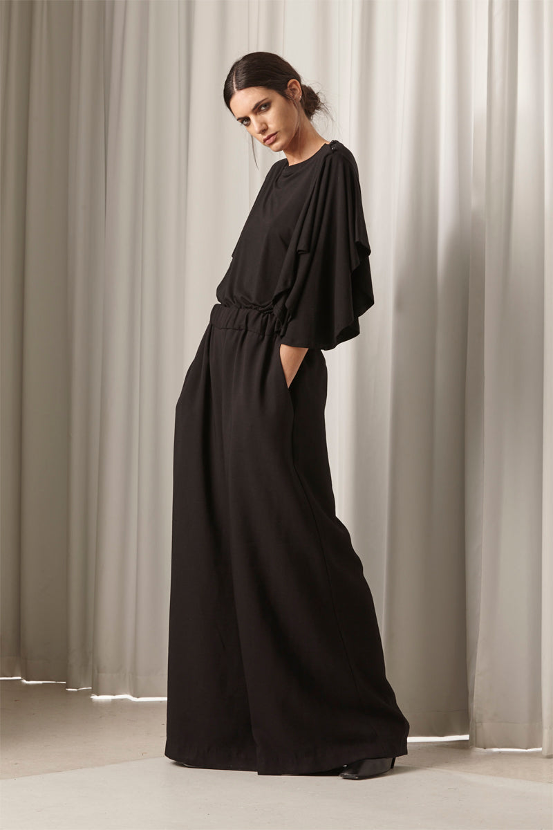 Ricochet NZ Fashion Designer Clothing AW18 Ha Long Pant Wide Leg Elasticated Waistband Made in NZ