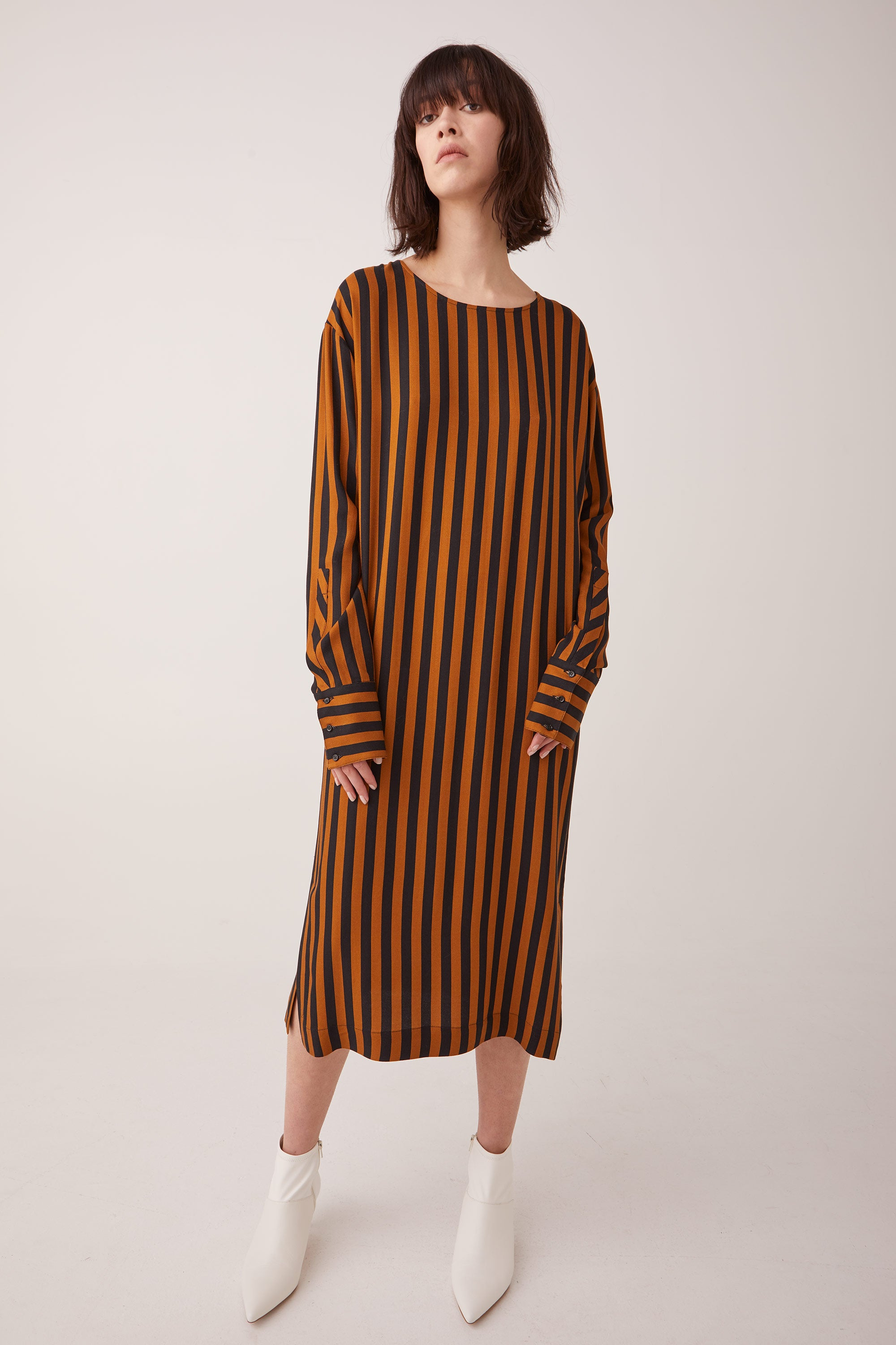 Ricochet NZ Fashion Designer Clothing Boutique AW19 Insane Dress Toffee Navy Stripe Made in NZ