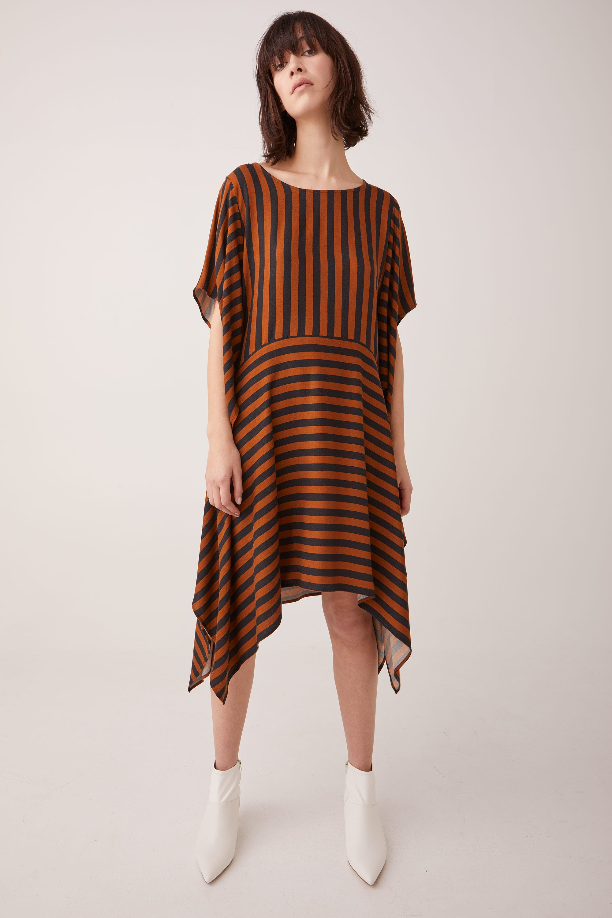 Ricochet NZ Fashion Designer Clothing Boutique AW19 Junko Dress Stripe Made in NZ