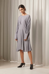 Ricochet NZ Fashion Designer Clothing AW18 Martinique Dress Asymmetrical Pleat Shirtdress Made in NZ