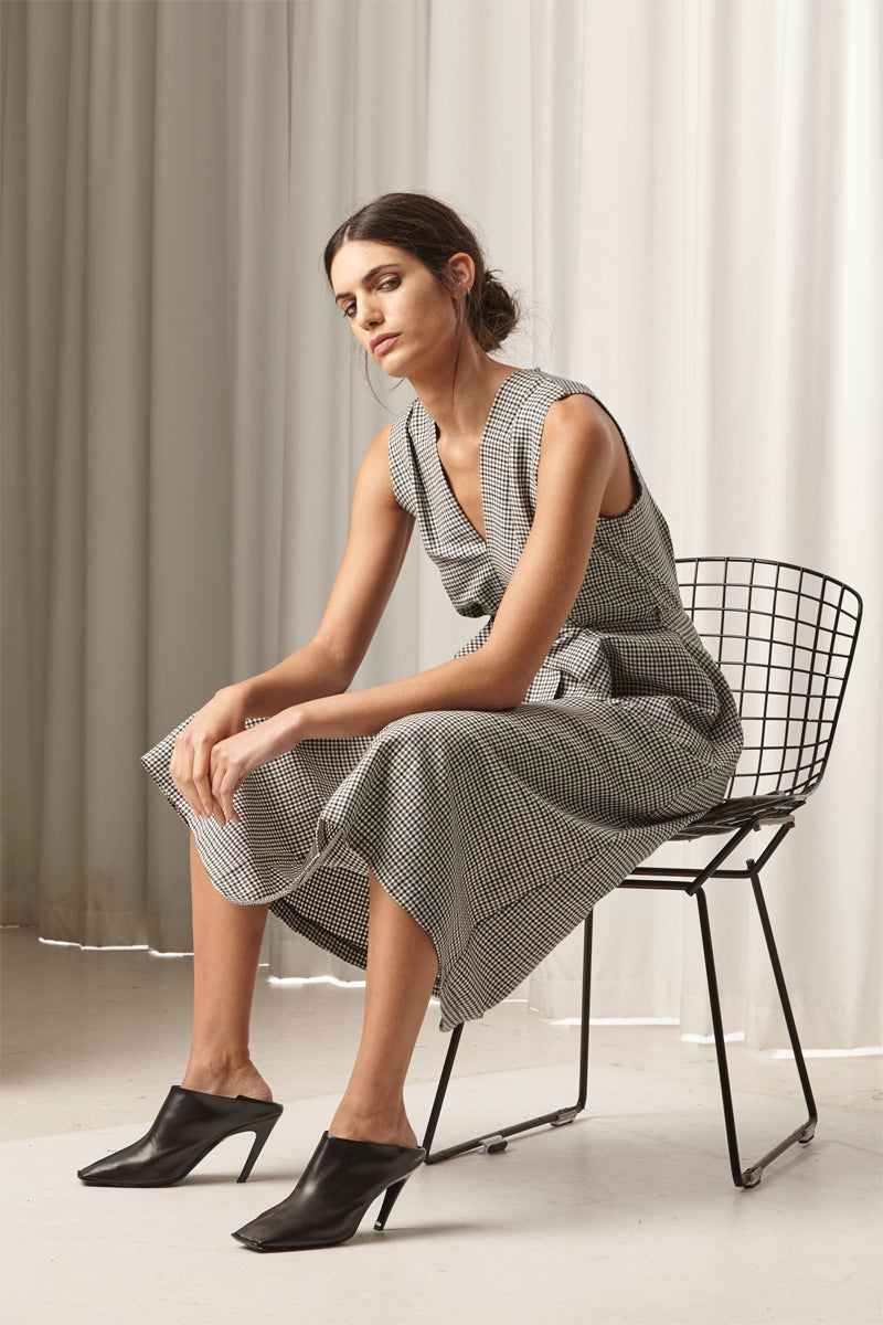 Ricochet NZ Fashion Designer Clothing AW18 Miyako Dress Wool Linen Check Gingham Pinafore Made in NZ
