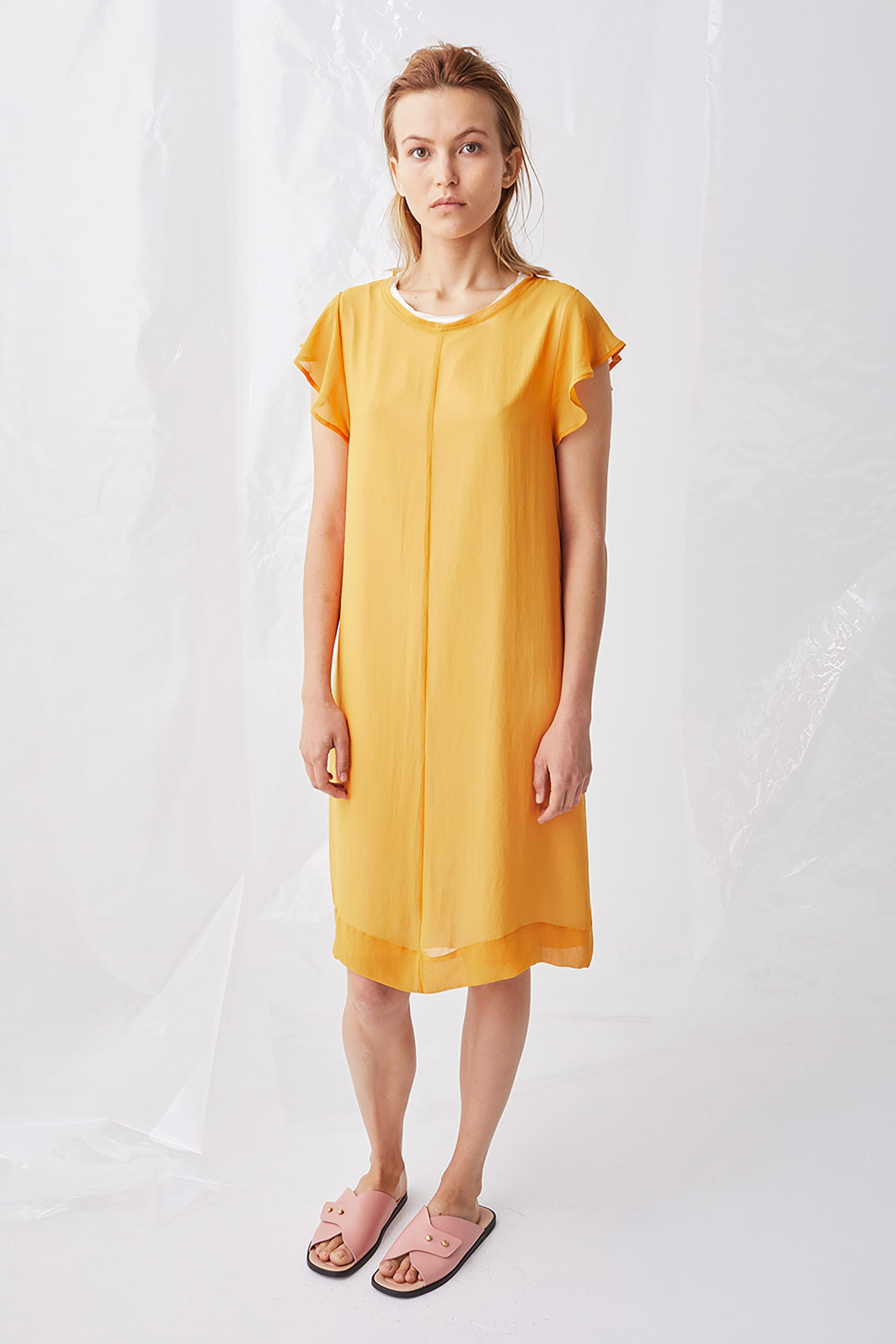 Ricochet NZ Fashion Designer Clothing Boutique SS18 Nagano Dress Flute Sleeve Tango Chiffon Made in NZ