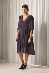 Ricochet NZ Fashion Designer Clothing AW18 Naomi Dress Chiffon Asymmetrical Ruffles Made in NZ