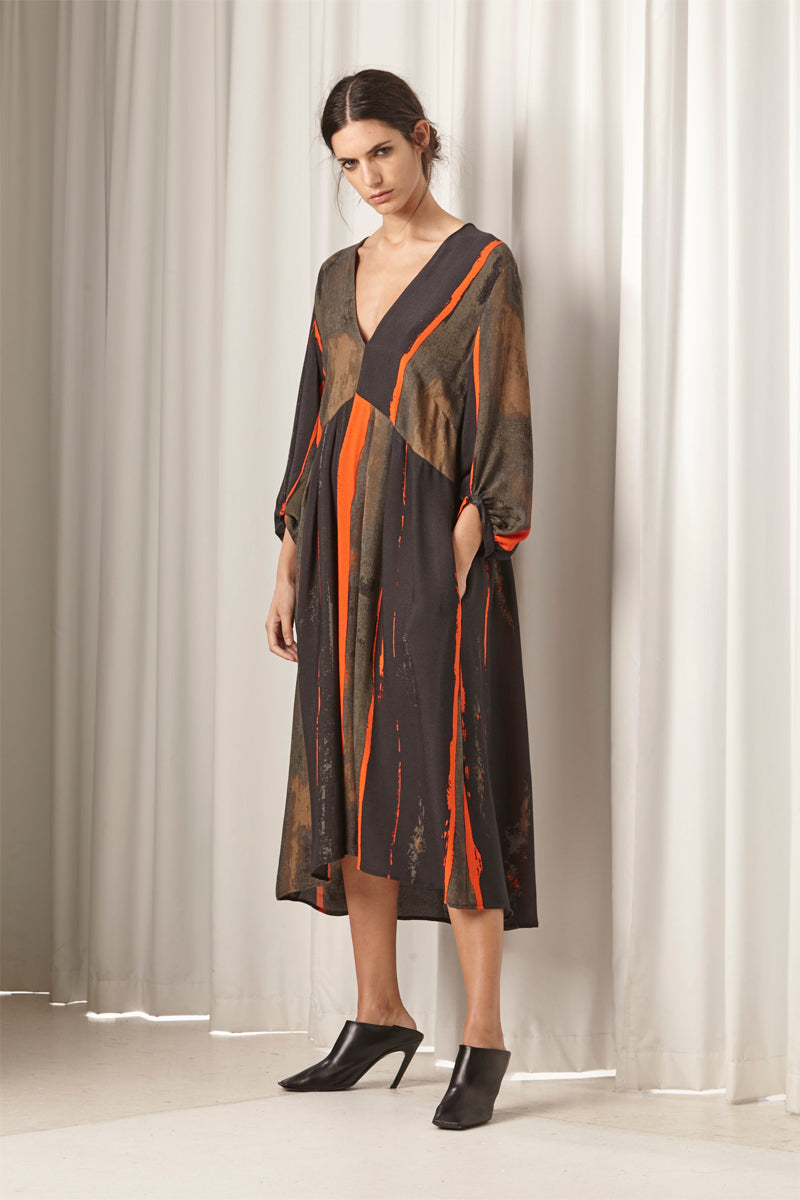 Ricochet NZ Fashion Designer Clothing AW18 Nerida Dress Exclusive Print Made in NZ