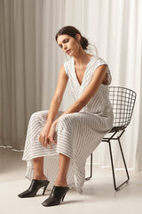 Ricochet NZ Fashion Designer Clothing AW18 Pleated Nozomi Dress Chainlink Stripe Panel Detail Made in NZ