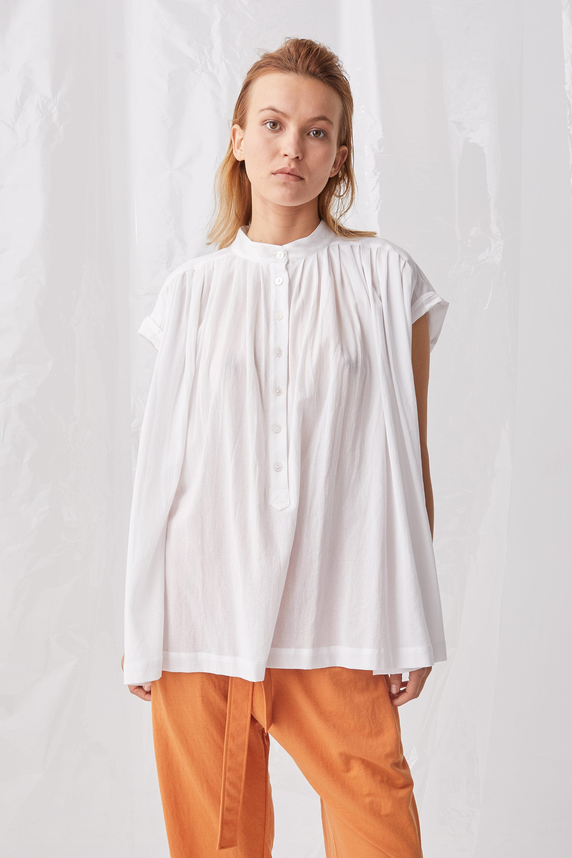 Ricochet NZ Fashion Designer Clothing Boutique SS18 Akashi Top White Cotton Crepe Made in NZ
