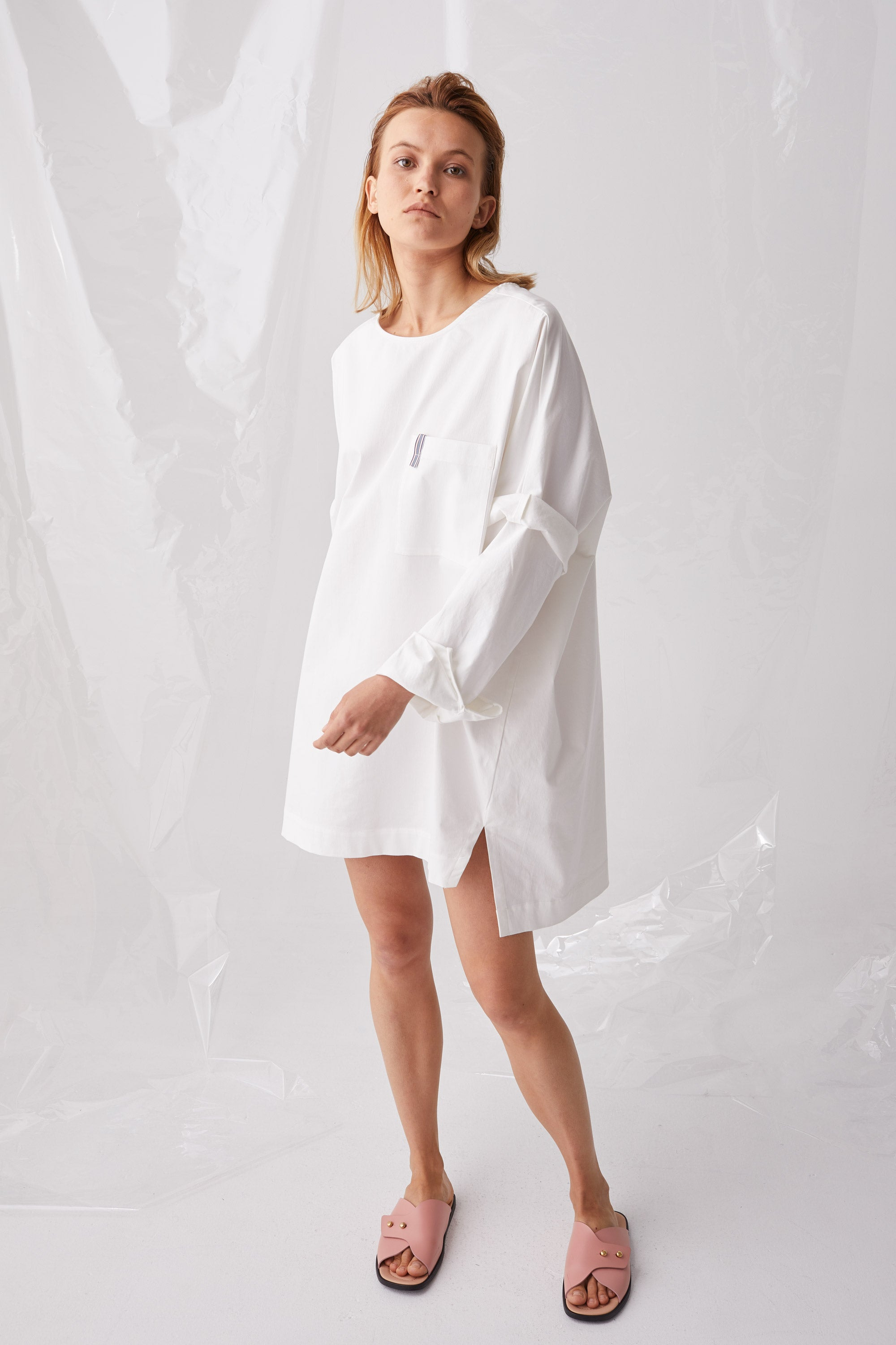 Ricochet NZ Fashion Designer Clothing Boutique SS18 Okazaki Dress Oversized White Cotton Poplin Made in NZ