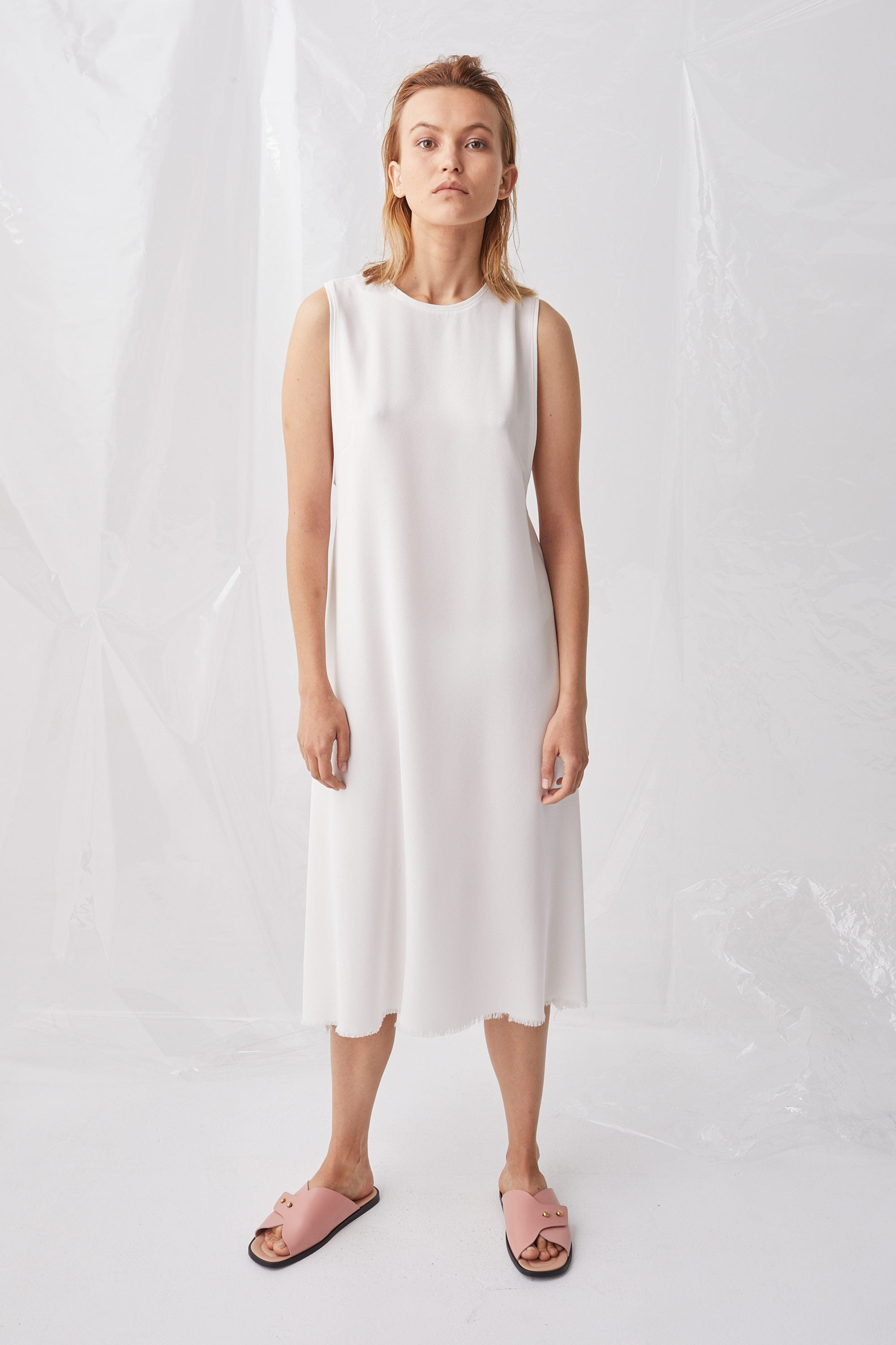 Ricochet NZ Fashion Designer Clothing Boutique SS18 Soma Dress White Crepe Column Fluted Made in NZ