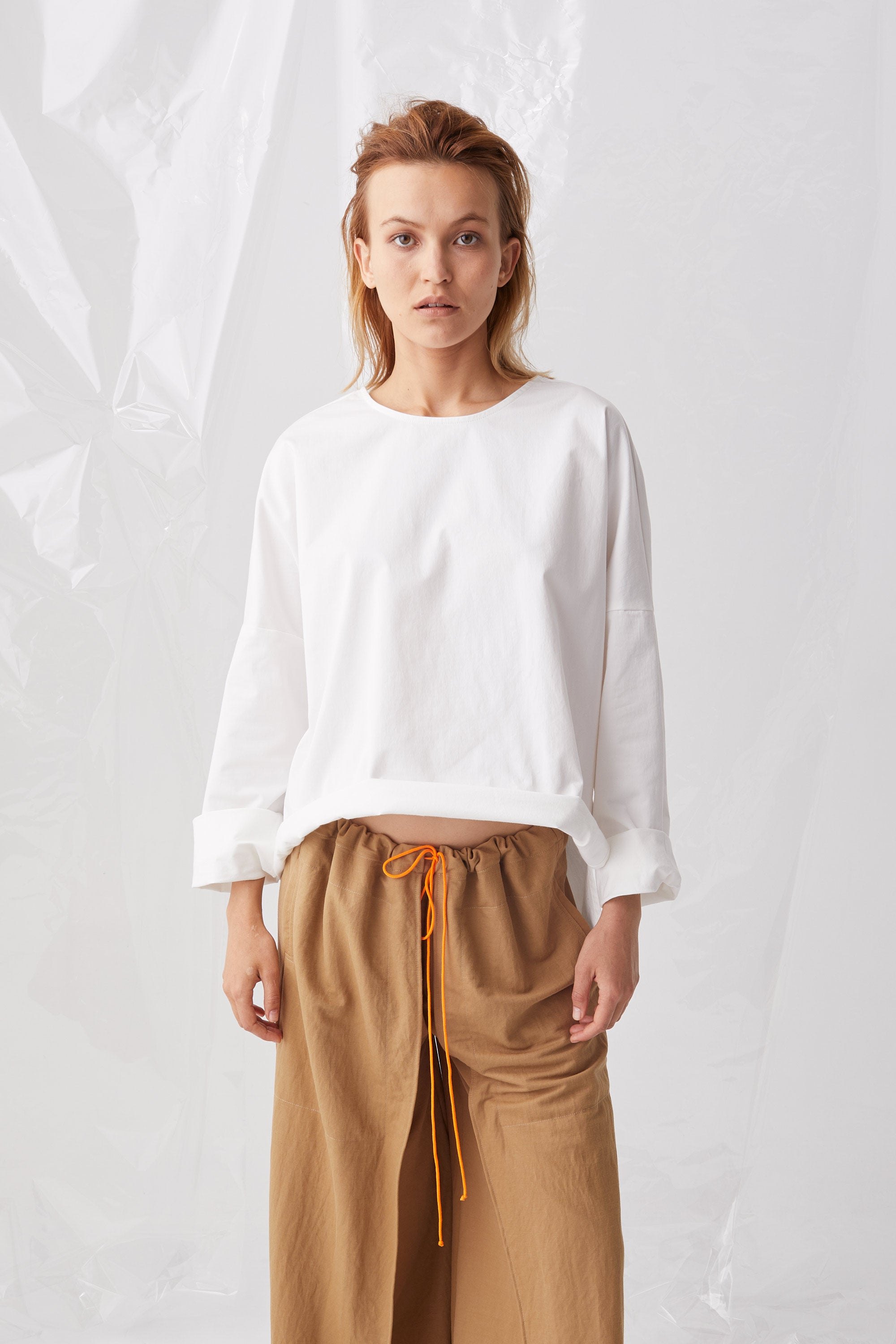 Ricochet NZ Fashion Designer Clothing Boutique SS18 Sora Top White Cotton Rolled Hem Top Made in NZ