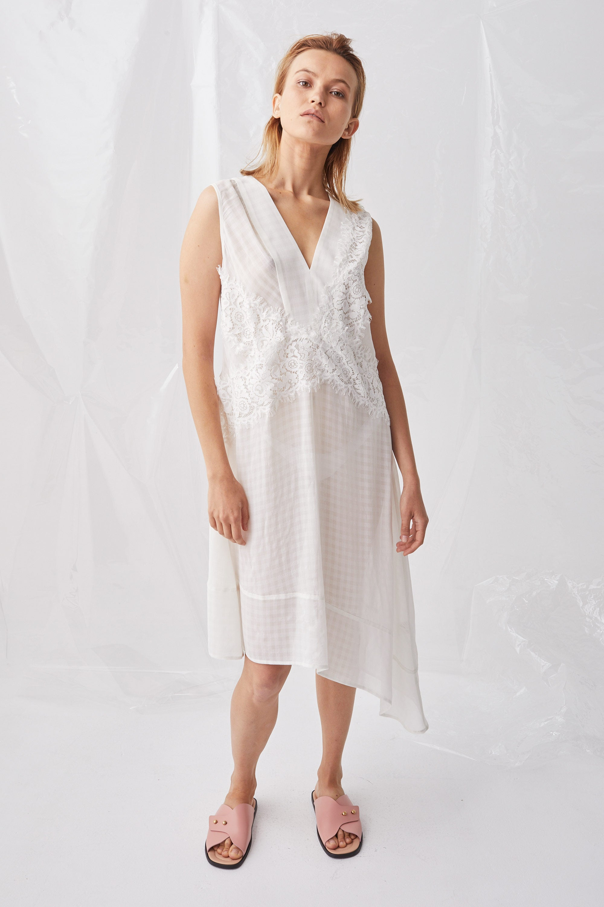 Ricochet NZ Fashion Designer Clothing Boutique SS18 Yoichi Dress Check Asymmetrical Made in NZ