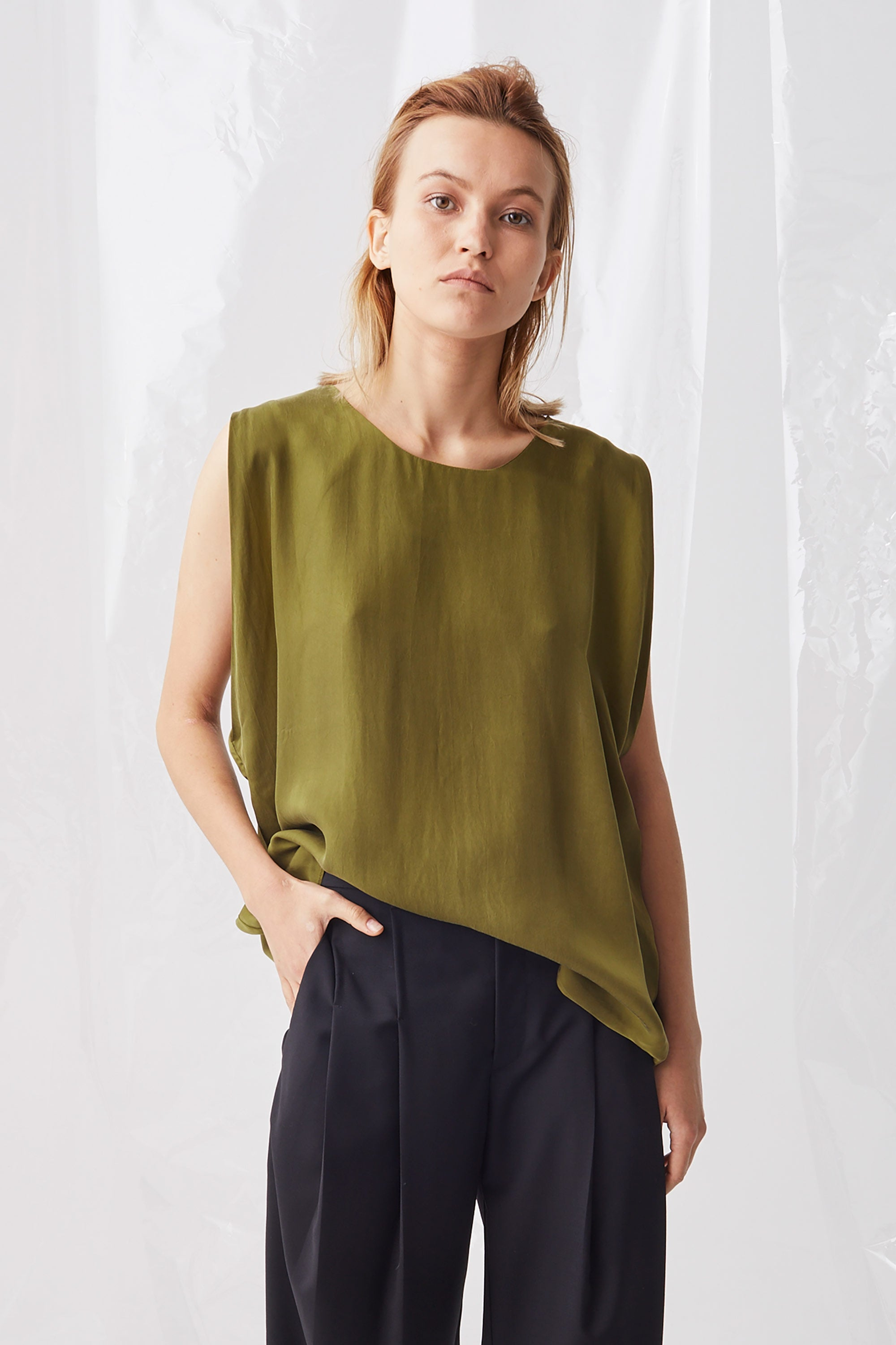 Ricochet NZ Fashion Designer Clothing Boutique SS18 Yukata Top Pea Green Cupro Two Ways Made in NZ