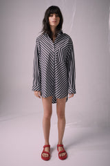 Ricochet NZ Fashion Designer Clothing Boutique SS19  Made in NZ All Mixed Up Shirt Black/White Stripe