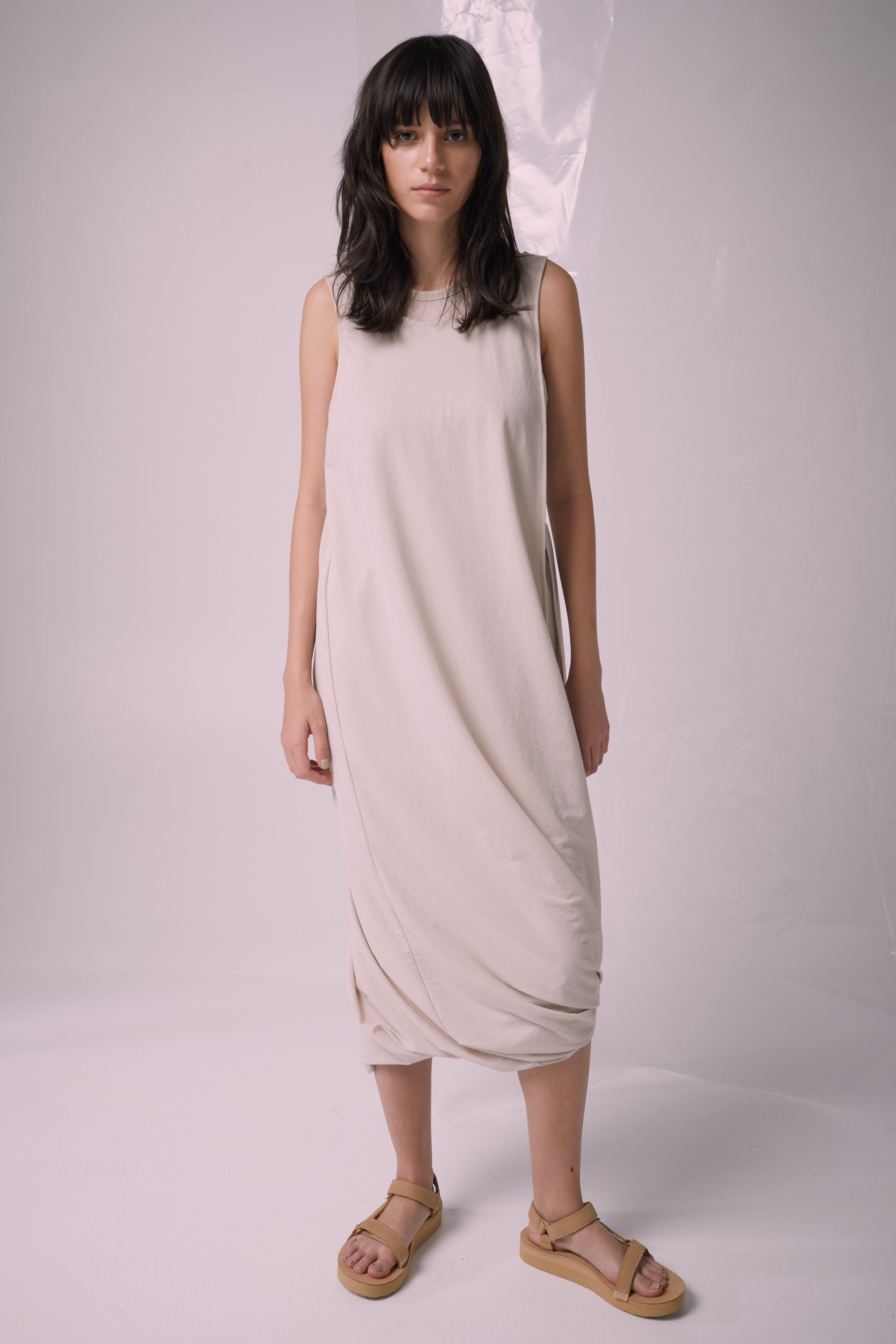Ricochet NZ Fashion Designer Clothing Boutique SS19  Made in NZ Cuban Slide Dress Stone