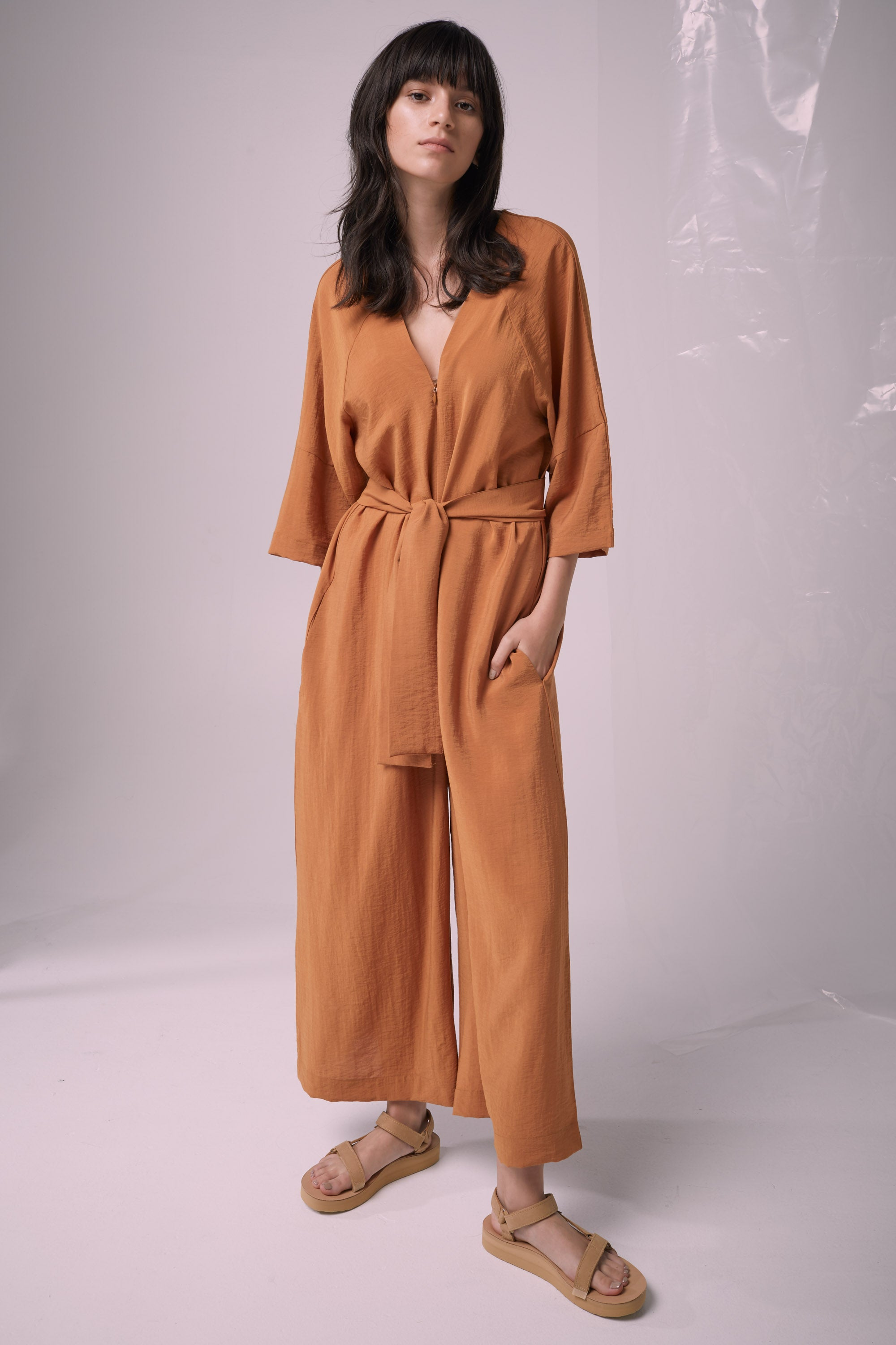 Ricochet NZ Fashion Designer Clothing Boutique SS19  Made in NZ Shell Shock Jumpsuit Nutmeg