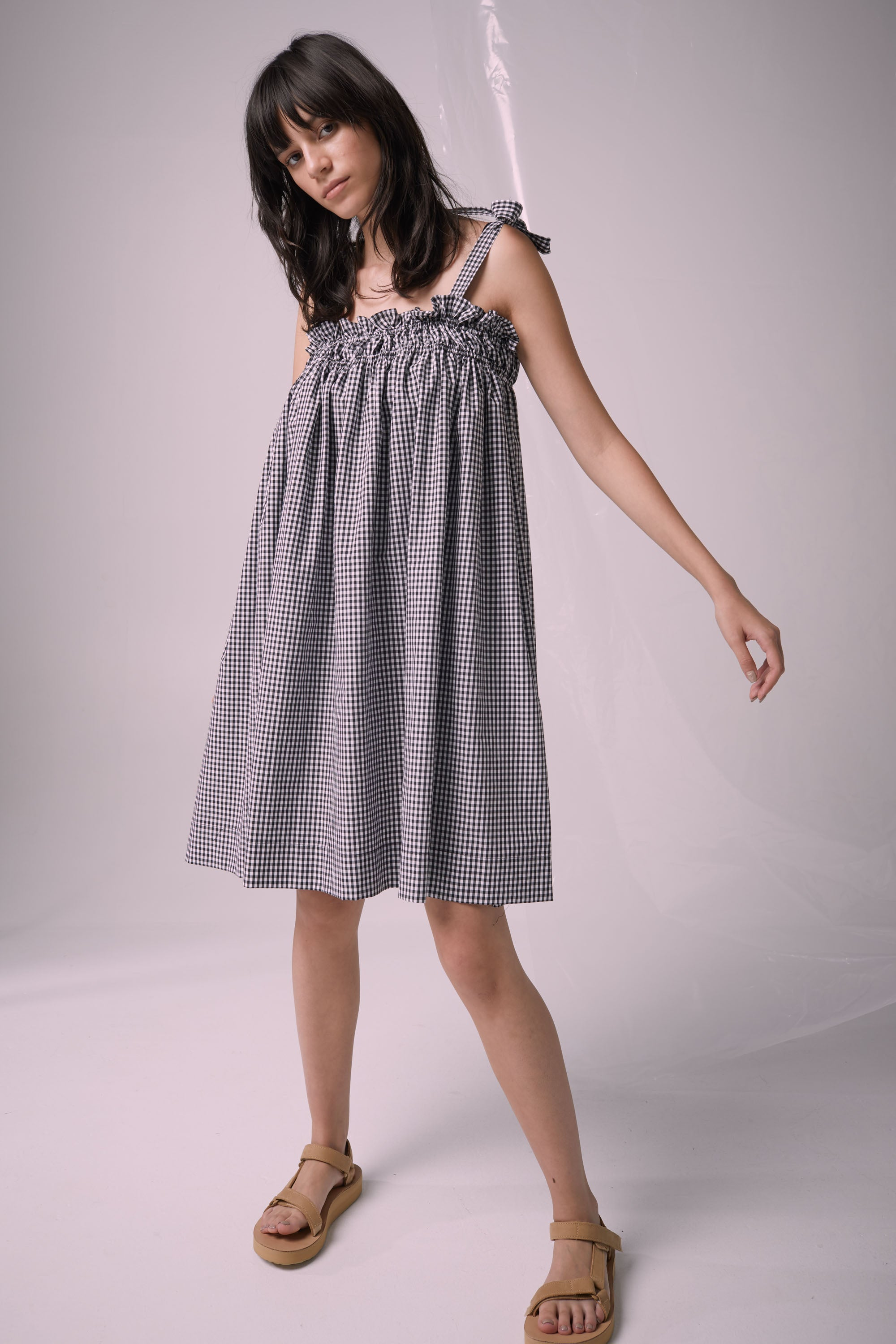 Ricochet NZ Fashion Designer Clothing Boutique SS19  Made in NZ Sweet Dreams Dress Black/White Gingham
