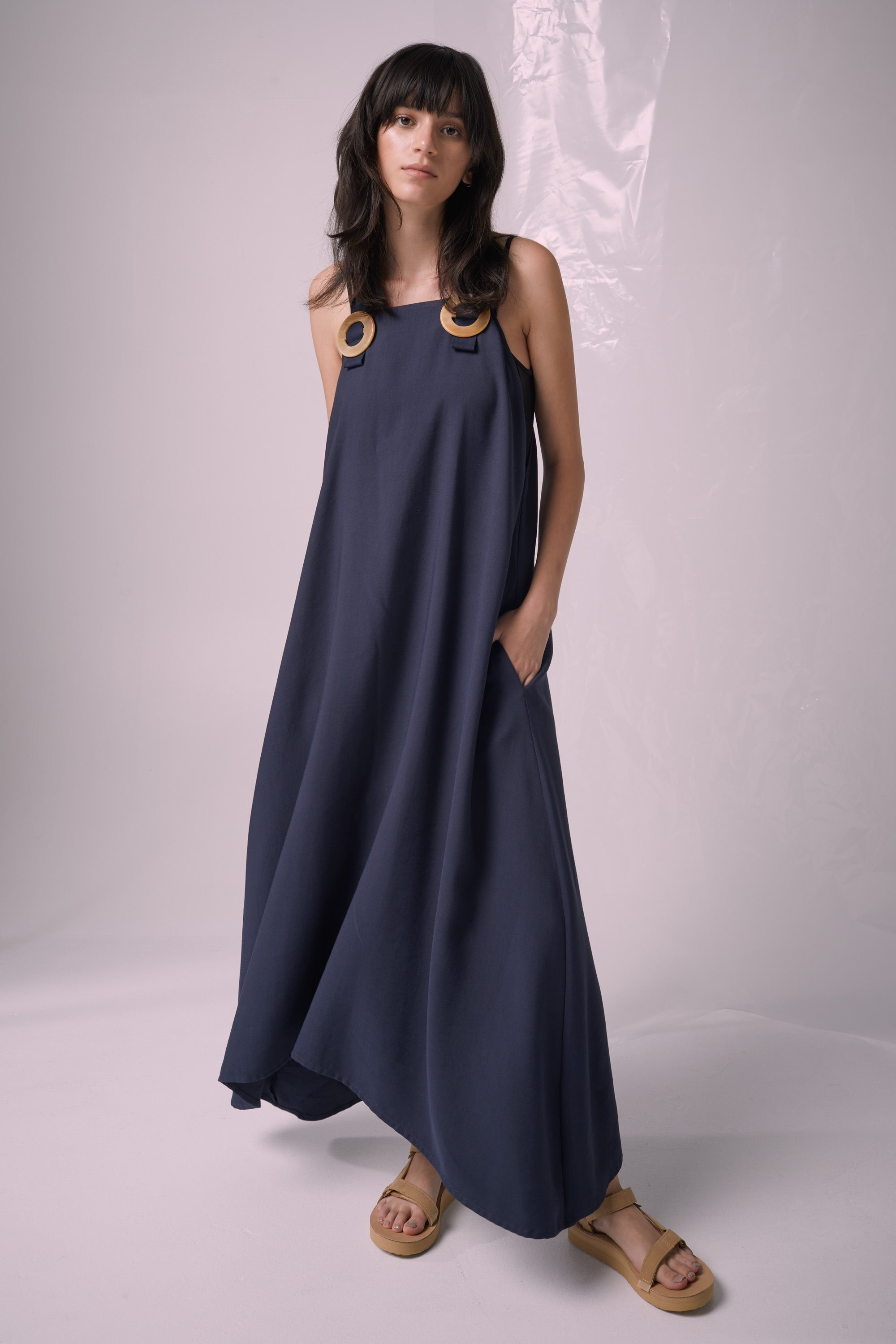 Ricochet NZ Fashion Designer Clothing Boutique SS19  Made in NZ Whimsical Dress Navy