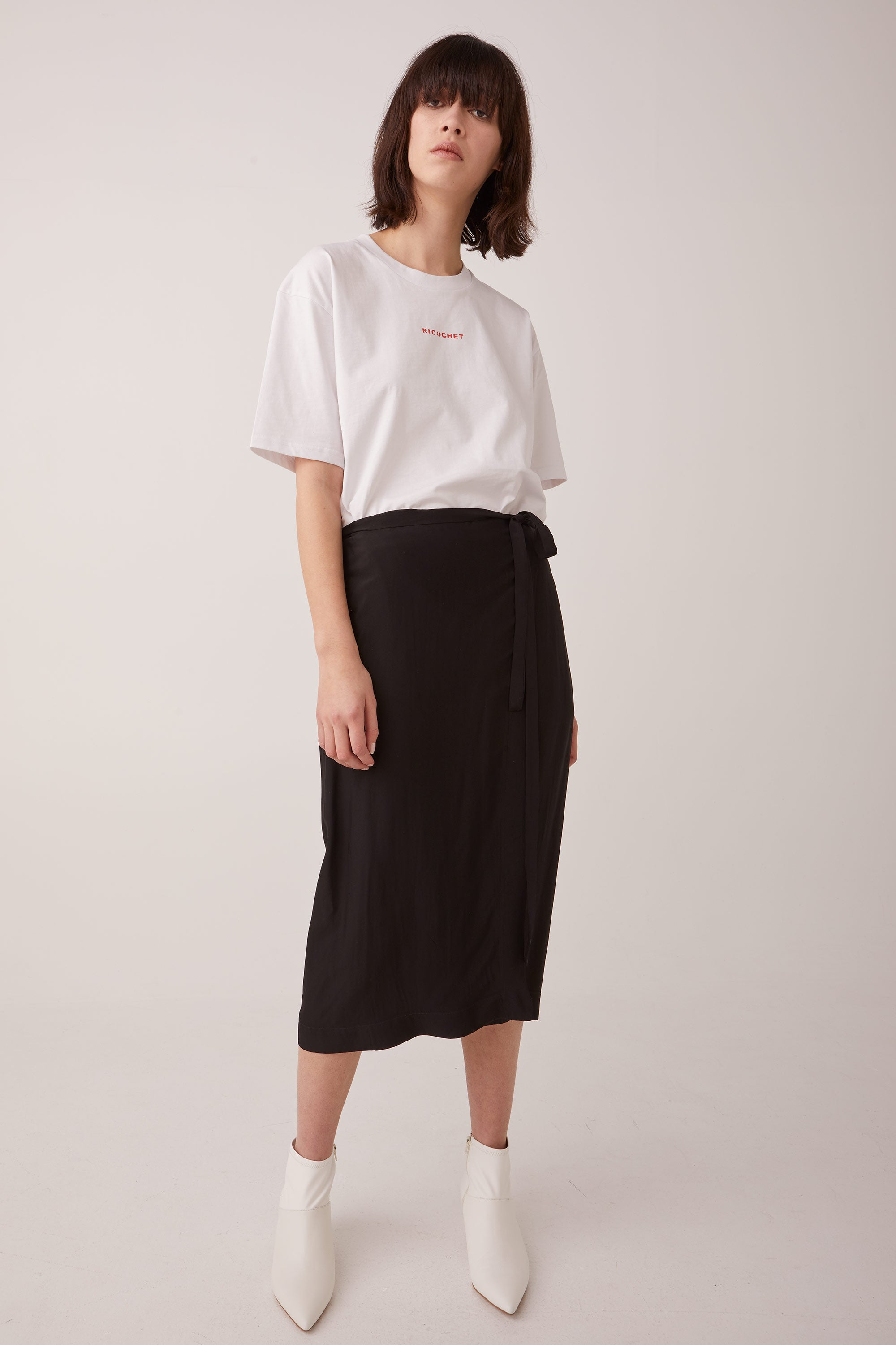 Ricochet NZ Fashion Designer Clothing AW18 Black Crepe Wrap Skirt Eyelets with Ties Samurai Wrapskirt Made in NZ