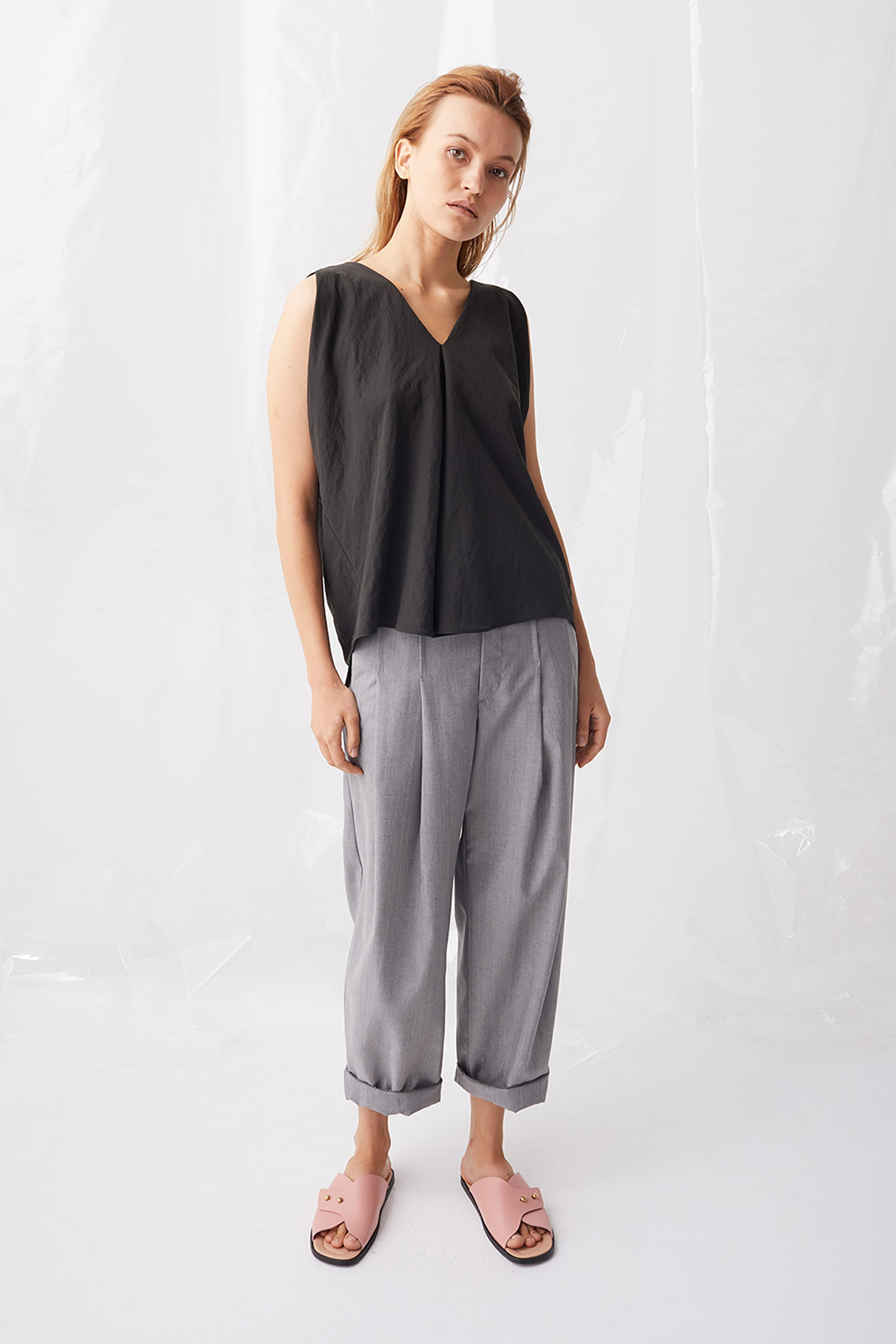 Ricochet NZ Fashion Designer Clothing Boutique SS18 Sapporo Pant Grey Chambray Rolled Hem Made in NZ