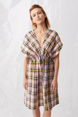 Ricochet NZ Fashion Designer Clothing Boutique SS18 Sendai Dress Pink Check Japanese Cotton Linen Made in NZ