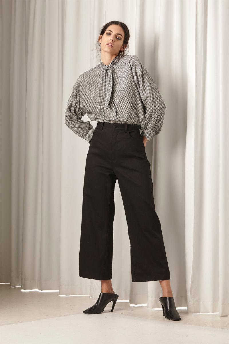 Ricochet NZ Fashion Designer Clothing AW18 Sibui Jean Wide Leg Cropped Black Jean Made in NZ