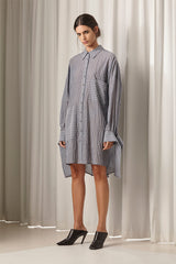 Ricochet NZ Fashion Designer Clothing AW18 Tasha Shirtdress Dress Stripe Long Tie Cuffs Made in NZ